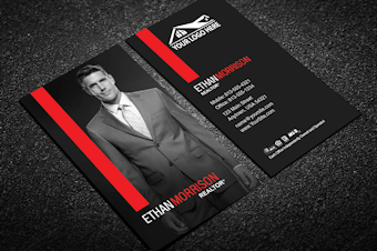 Real estate business cards free shipping modern red real estate business card w portrait reheart Image collections