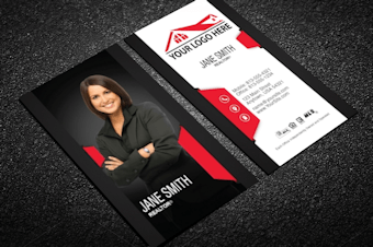 Real estate business cards free shipping classy black real estate business card w portrait modern reheart Gallery