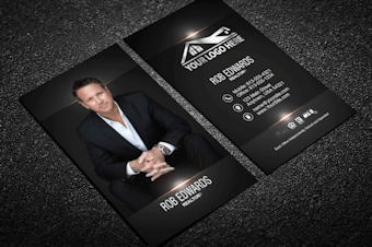 Real estate business cards free shipping classy black real estate business card w portrait reheart Images