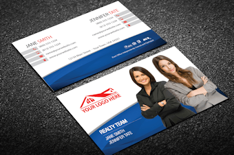 Real estate business cards free shipping white blue team real estate business card colourmoves