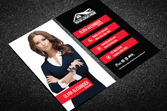 Real estate business cards free shipping modern red real estate business card w portrait dark vertical reheart Images